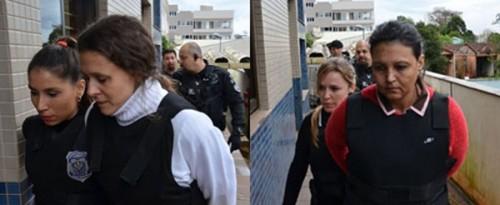 Graciele (E) e a amiga Edelvânia (D) chegam ao foro usando colete à prova de balas.