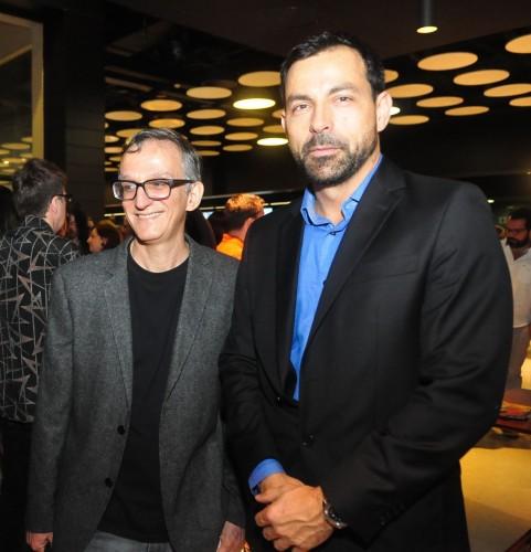Juremir Machado da Silva e Patrice Pauc, diretor da Aliança Francesa, na abertura do Festival Varilux de Cinema Francês. Foto: Livia Stumpf/Especial.
