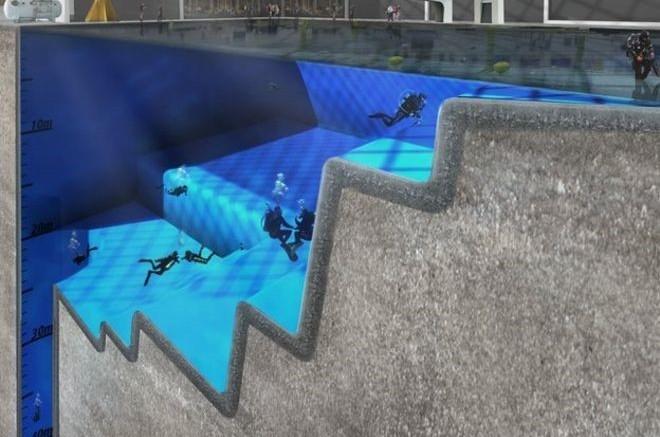 Inglaterra constroi piscina com 50 metros de profundidade for Piscina 50 metros barcelona