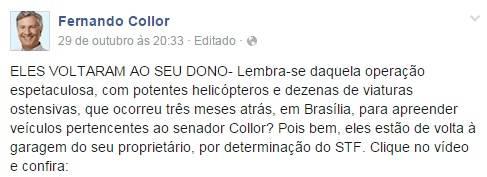 De forma irônica, senador comentou decisão em sua página no Facebook (Foto: Reprodução)