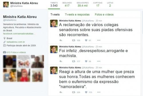 """No Twitter, ministra afirmou que reagiu """"à altura"""" a brincadeira. Foto: Reprodução"""