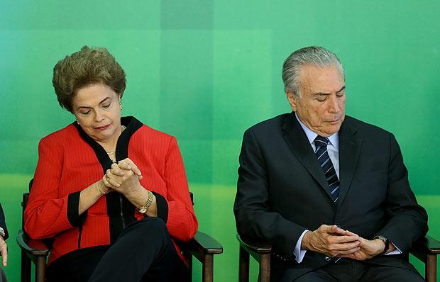 Dilma Rousseff e Michel Temer em evento no Planalto antes do afastamento da petista. (Foto: Reprodução)