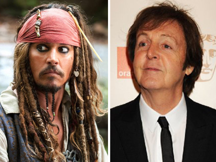 Fotomontagem de Johny depp e paul mccartney