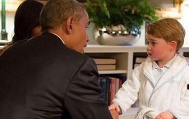 Príncipe George encontra Barack Obama