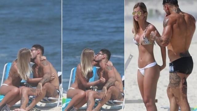 Lucas Lucco aos beijos na praia com Paula Monnerat