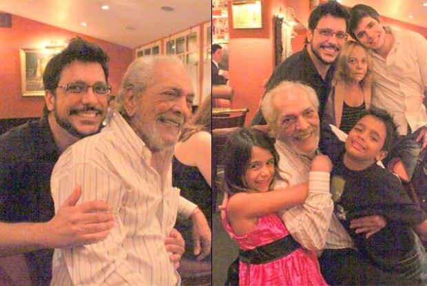 Lúcio Mauro comemorou o aniversário ao lado do filho, Lúcio Mauro Filho, e do restante da família
