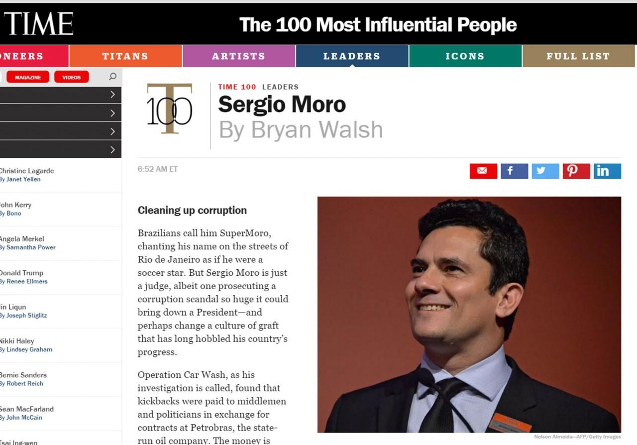"""Site da revista """"Time"""" com o juiz Sérgio Moro"""