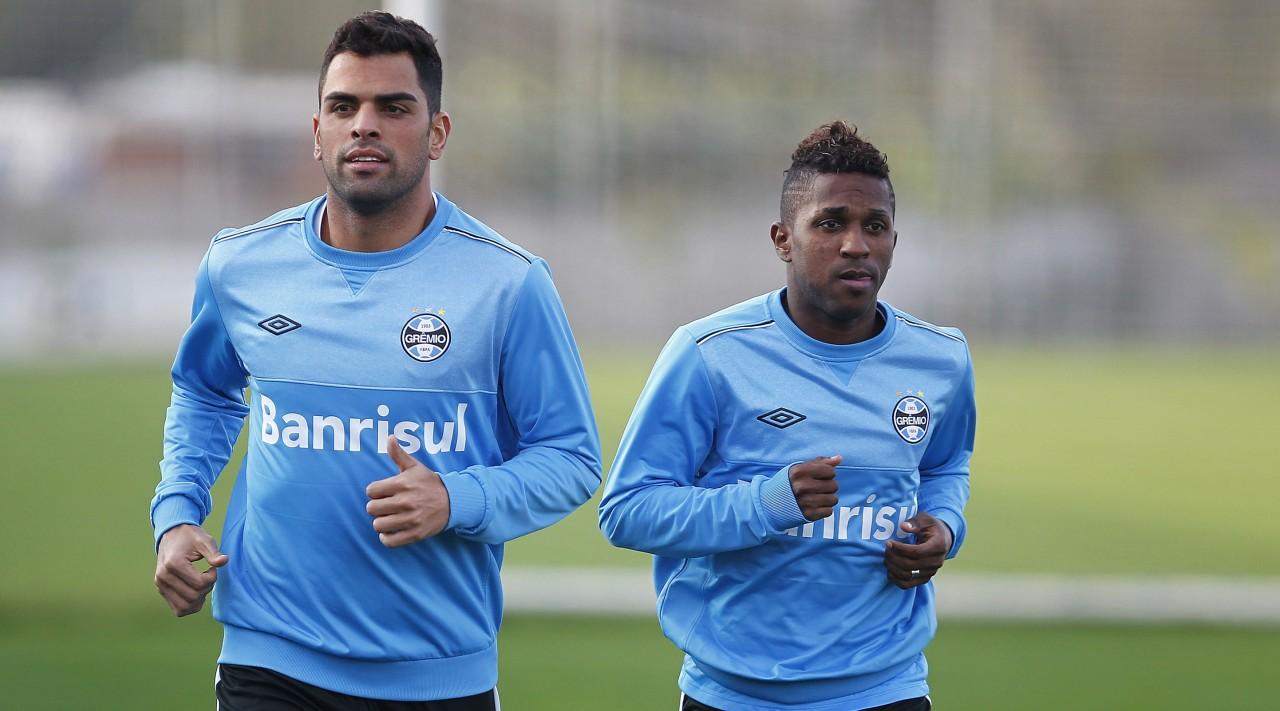 Maicon e Bolaños estão se recuperando de lesões e podem aparecer no Gre-Nal do dia 3 de julho. (Foto: Lucas Uebel/Grêmio)