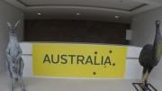 Réplicas de animais típicos da Austrália, incluindo um canguru, decoram a entrada do prédio destinado ao país na Vila Olímpica do Rio (Foto: Reprodução/Comitê Olímpico Australiano)