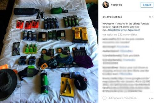 """Hope Solo criou um """"kit antizika"""" no seu Instagram. (Foto: Reprodução)"""