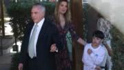 O presidente interino estava acompanhado pela mulher, Marcela Temer. (Foto: José Cruz/Agência Brasil)