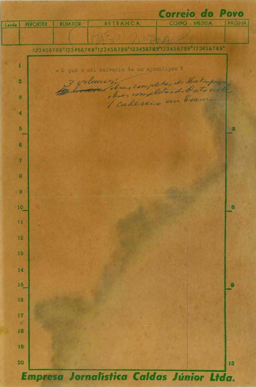 Mario Quintana escreveu na lauda do Correio do Povo que obras de Shakespeare e Dostoiévski seriam a companhia ideal numa ilha solitária. (Foto: Reprodução)