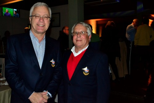 Manuel Ruttkay Pereira, comodoro do Clube Jangadeiros, e Pedro Pesce, vice-comodoro administrativo. (Foto: Elisa Junges / Divulgação)