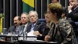 Em pronunciamento, a presidente afastada, Dilma Rousseff. (foto: Edilson Rodrigues/Agência Senado)
