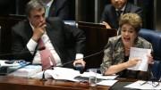 A presidenta afastada, Dilma Rousseff, faz sua defesa durante sessão de julgamento do impeachment no Senado (Fabio Rodrigues Pozzebom/Agência Brasil)