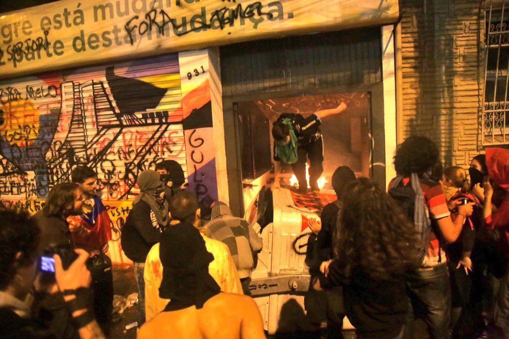 Sede do PMDB, na Av. João Pessoa, foi depredada na noite desta quarta-feira (foto: divulgação)