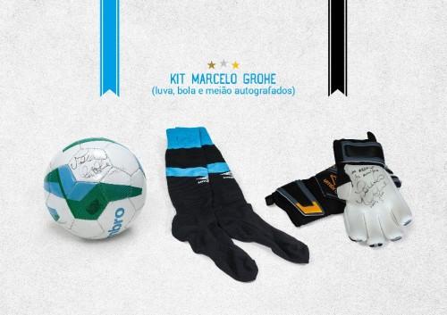 Leilão tricolor inclui um kit com luva, bola meiões autografados pelo goleiro Marcelo Grohe. (Foto: Divulgação)