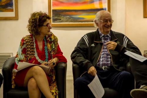 Lou Borghetti e Rolf Zelmanowicz no encontro da Associação dos Amigos das Pinacotecas de Porto Alegre. (Foto: Pedro Antonio Heinrich/especial)