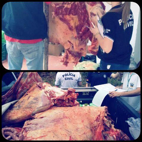 Uma tonelada e 600 quilos de carnes impróprias para o consumo são apreendidas em Ijuí e Catuípe. (Foto: Polícia Civil/Divulgação)
