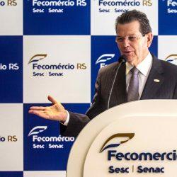 Luiz Carlos Bohn, presidente da entidade, apontou ações desenvolvidas em 2016, a implantação do Impostômetro e apoio às medidas do governo gaúcho. Fotos: Jackson Ciceri/O SUL