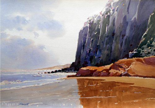 No detalhe: a aquarela de Carlos Mancuso que retrata a beira da praia, emprestado para a exposição pelo colecionador Ricardo Mancuso. (Foto: Clóvis Dariano/divulgação)