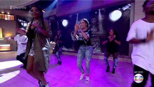 Coreografia de música de Ludmilla contou com a performance da apresentadora Fátima Bernardes. (Reprodução Globo)