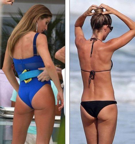 À esquerda, registro do último ensaio da modelo, no Rio de Janeiro. À direita, uma foto de 2014 (Foto: Reprodução/Daily Mail)