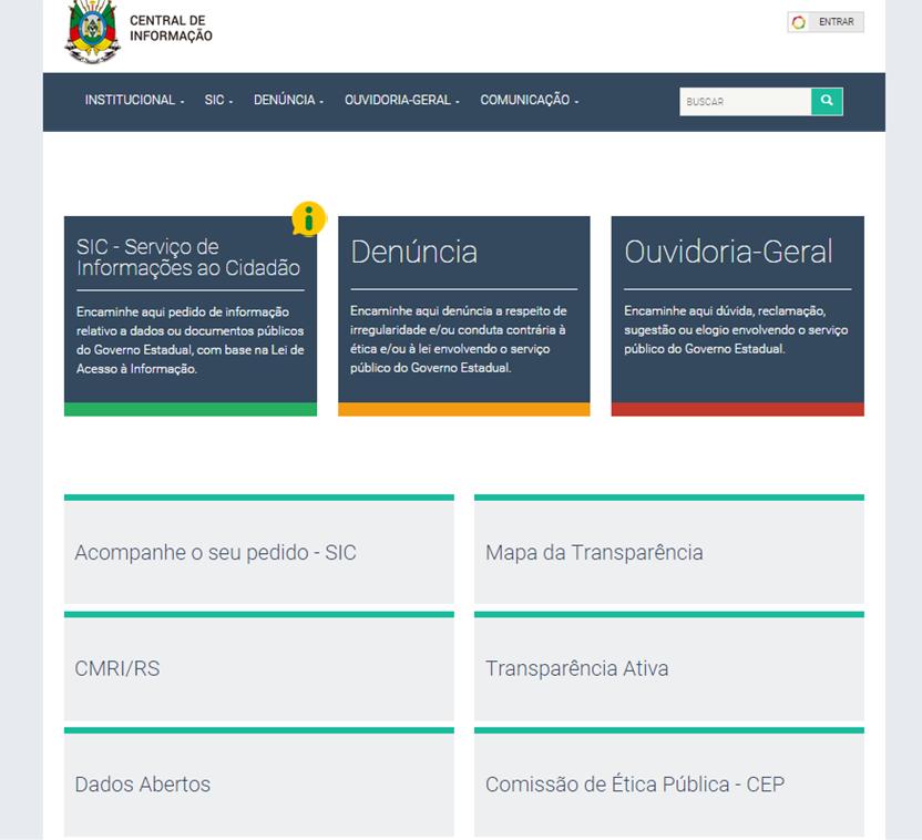 O novo site pode ser acessado pelo endereço www.centraldeinformacao.rs.gov.br. (Foto: Reprodução)