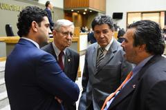 Secretário Kevin Krieger, vereadores João Carlos Nedel,  Cassiá Carpes e Claúdio Janta.