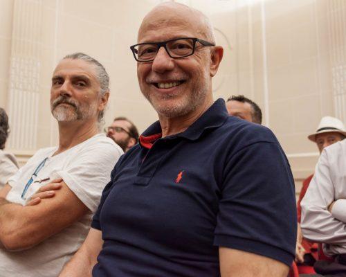 Hique Gomez e Ayres Potthoff  acompanharam a abertura do projeto para 2017 no Santander  Cultural. (Foto: Pedro Antonio Heinrich/especial)