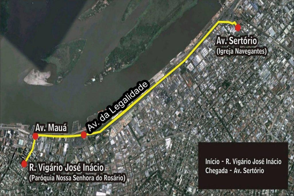 Mapa da procissão de Navegantes. (Foto: PMPA/Divulgação)