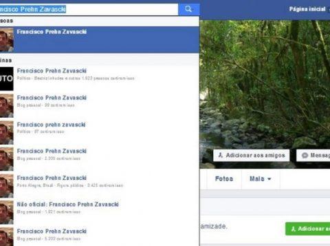 Busca no Facebbok mostra várias páginas com o nome do filho de Teori Zavascki. (Foto: Reprodução)