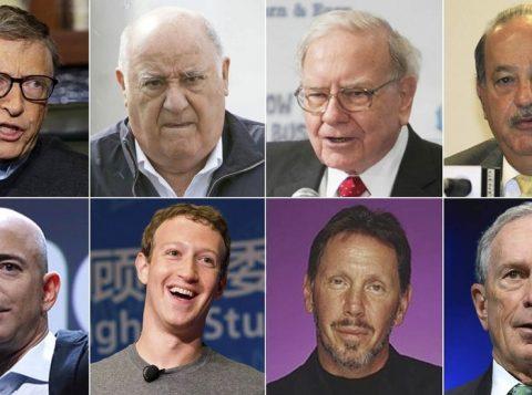 Bill Gates, Amancio Ortega, Warren Buffett, Carlos Slim Helu, Jeff Bezos, Mark Zuckerberg, Larry Ellison,  Michael Bloomberg  (Foto: Reprodução)