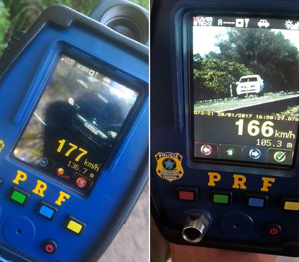 Um veículo, conduzido por um argentino, foi flagrado a 177 km/h em Rosário do Sul. Outro, trafegada a 166 km/h na Freeway. (Fotos: PRF/Divulgação)