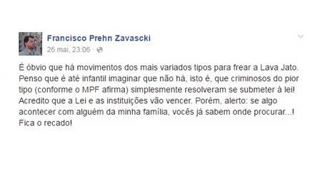 """""""Se algo acontecer com alguém da minha família, vocês já sabem onde procurar...! Fica o recado!"""", escreveu Francisco em seu Facebook. (Foto: Reprodução)"""