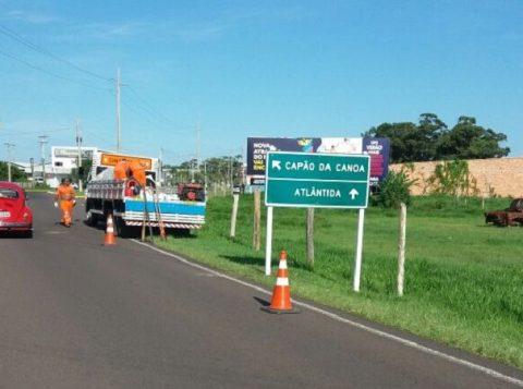 Serviços de sinalização no trecho devem ser concluídos até quinta-feira (3). (Foto: Daer/Divulgação)