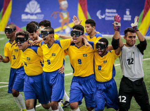 Brasil goleou o México no futebol 5 (Crédito: Leandro Martins/CPB/MPIX)