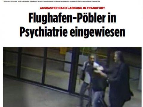 """Jornal alemão Bild escreve que """"Provocador do aeroporto é internado na psiquiatria"""" e coloca foto de Stephan Brode tentando agredir um passageiro no Aeroporto de Guarulhos. (Foto: Reprodução/Bild)"""