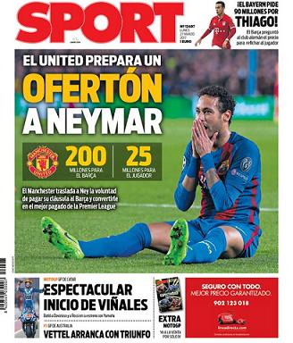 cca18d2e8 Capa do Sport  ofertão do Manchester United por Neymar. (Foto  Reprodução