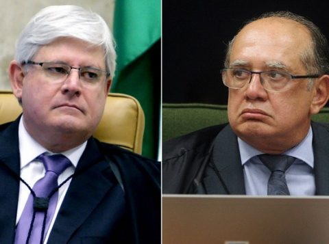 O procurador-geral da República, Rodrigo Janot (E), e o ministro Gilmar Mendes, do Supremo Tribunal Federal (Fotos: Fellipe Sampaio/STF e Carlos Humberto/STF)