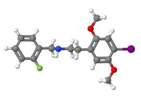 Modelo 3D da substância alucinógena 25I-NBF. (Foto: Reprodução)