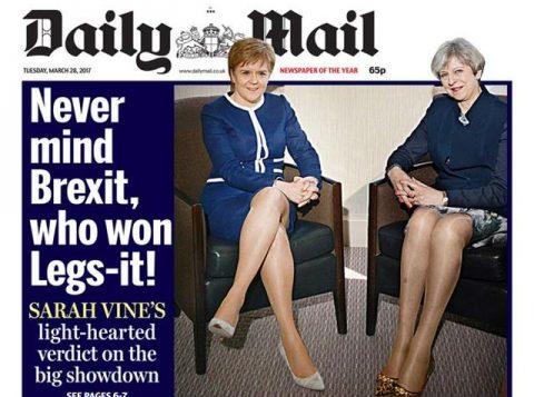Material de capa do Daily Mail sobre premiês da Inglaterra e da Escócia foi chamado de sexista. (Foto: Reprodução)