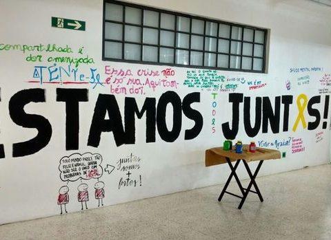 Painel pintado por alunos de medicina da USP no subsolo da faculdade; um espaço exclusivo aos estudantes. (Foto: Divulgação)