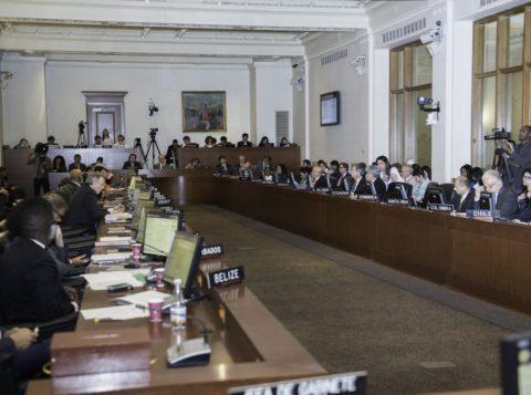 Em reunião no dia 3 de abril, em Washington (EUA), a OEA aprovou por maioria um acordo de resolução em que exortou o governo da Venezuela a garantir a separação e independência de poderes, entre outros pontos. (Foto: Juan Manuel Herrera /OAS)