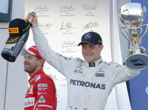 No GP da Rússia, Bottas celebra primeira vitória na Fórmula 1. (Foto: Reuters)
