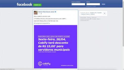 Divulgação foi feita pelo site da Prefeitura e também pelas redes sociais (Foto: Reprodução/Facebook)