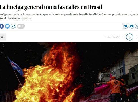 A versão espanhola do site El País destacou a greve geral. (Foto: Reprodução)