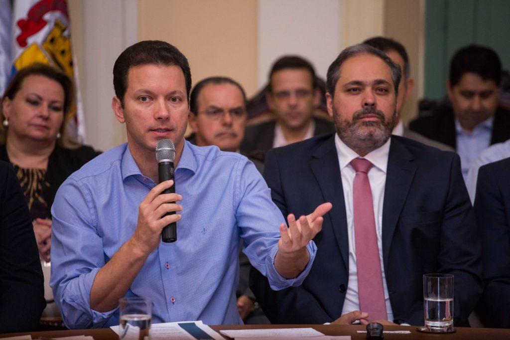 Coletiva de imprensa sobre os 100 dias de governo.  (Foto: Cesar Lopes/ PMPA)
