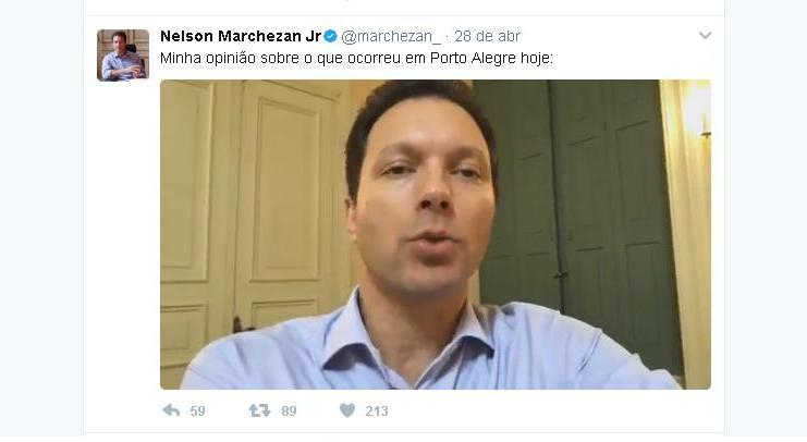 Prefeito Nelson Marchezan Jr. fez uma transmissão ao vivo no Twitter. (Foto: Reprodução Twitter)