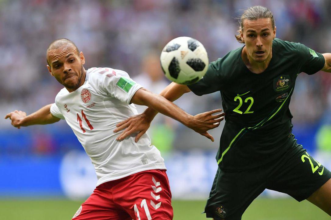 5fe835880359e Dinamarca e Austrália empataram em 1 a 1 na segunda rodada do Grupo C do  Mundial